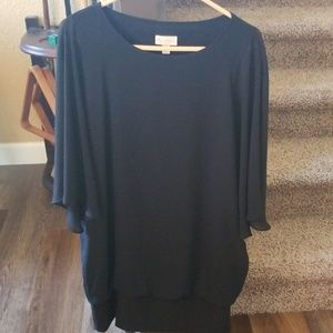 LBD: Dolman sleeve banded blouson dress